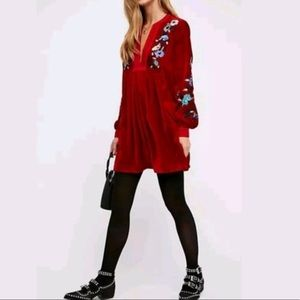 FREE PEOPLE Mia embroider velvet mini swing dress